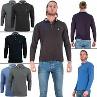 Mens Brave Soul Polo Hatter Long Sleeve Cotton Golf Casual Top Shirts S M L XL
