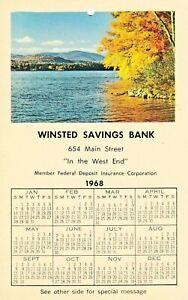 Vintage Calendar  WINSTED SAVINGS BANK 1968  CONNECTICUT