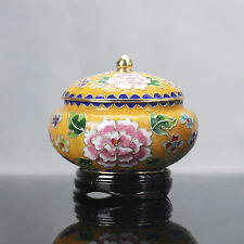 CHINESE COLLECTABLE COPPER CLOISONNE HANDWORK POENY PATTERN STORAGE TANK