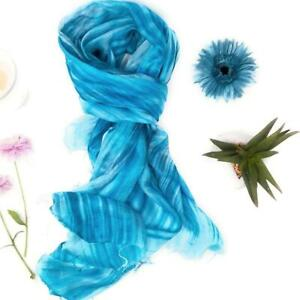 100% Pure Silk Scarf Hand Painted Turquoise Grey Silk Scarf