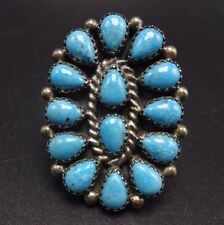 Vintage NAVAJO Sterling Silver & TURQUOISE Cluster RING, size 8.75, Stamped Band