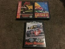HARD DRIVIN', LOTUS II, SUPER MONACO GP, SEGA GENESIS, 3 RACING GAMES, W/CASES