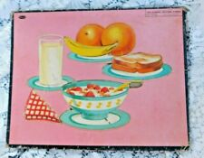 VINTAGE 1950'S WHITMAN CHILD INLAID TRAY PUZZLE OF HEALTHY BREAKFAST