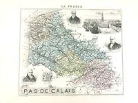 1893 Ancien Carte De Pas De Calais Arras France Français Régional Main Coloré