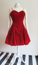 Vintage 90s Red Velvet Dress Grunge Goth Lolita Bruja 80s