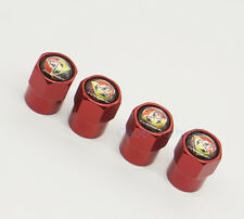 4x Red Car Accessories Wheel Cover Tire Valve Stem Caps Logo for Abarth