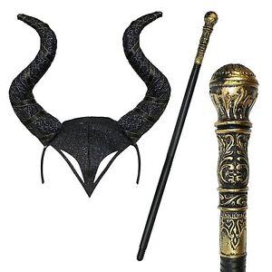 Evil Witch Halloween Gothic Horn Cosplay Fancy Dress Headband & Staff - Black