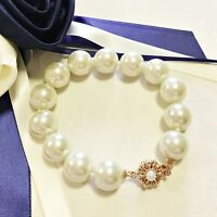 18K Rose Gold Plated Stunning 11mm Strand Simulated Pearl Bracelet Jewellery
