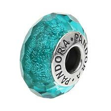Authentic PANDORA Sterling Silver Teal Shimmer Murano Glass Charm 791655