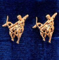 VINTAGE SAGITTARIUS EARRINGS ARCHER CLIP BACK GOLD TONE METAL ASTROLOGY NOS