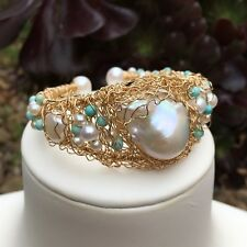 Huge 25mm White freshwater Baloque pearl 14KGF Bracelet Original works AAA