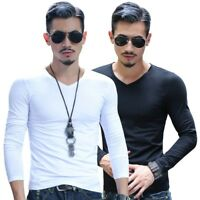Mens Slim Fit V-Neck Long Sleeve Cotton Muscle Tee T-shirt Tops Blouse Plus Size