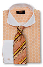 Dress Shirt Only by Steven Land Classic Fit Rounded French Cuff- Peach-DW1739-PE