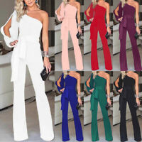 Damen Schulterfrei Jumpsuit Romper Hosenanzug Cocktail Party Overall Playsuit