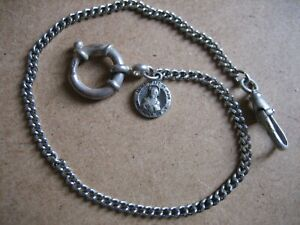 Vintage Unique  S/Silver  Pocket  Watch Chain 10.1/4in. Long