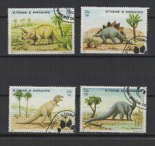 dinosaure 1982 St Tome et Principe série de 4 timbres oblitérés / T1392