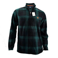 Chaps Men's Fleece Pullover 1/4 Zip Sweaters With Plaid Design In Red & Green