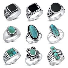 NEW! 925 Sterling Silver  TURQUOISE & ONYX  STONE RINGS SIZE 6-13