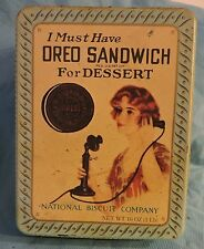 """OREO COOKIE TIN """"I MUST HAVE OREO SANDWICH FOR DESSERT"""" -  1986"""