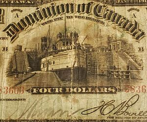 1902 Dominion of Canada $4. EXTREMELY RARE Banknote. Boville Signed.