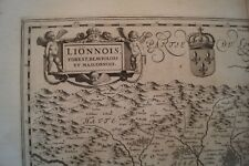 Antique map of Lyons area in France by Jan Jannson c1650