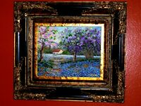 Bluebonnet Landscape Blooming Pink Lilac Trees TX Hill C. Original Oil Painting