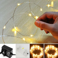 20/30/100 LED String Operated Copper Silver Wire Fairy Lights Xmas Party White