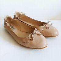 L.K. Bennett Beige Leather Bow Ballet Flats Shoes Women's Size 36 Eur/~5.5-6 US