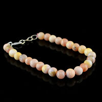 Rare 75.00 Cts Natural Round Shape Untreated Pink Australian Opal Beads Bracelet