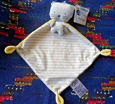 BN/ DOUDOU PLAT MOTS D'ENFANTS CHAT OURS CAPE JAUNE BLANC GRIS RAYE  NEUF