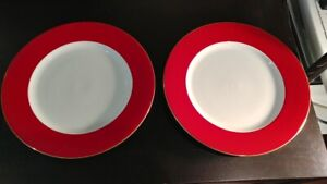 2 Crate & Barrel Dinner Plate Red band Gold trim 10.25 in dia