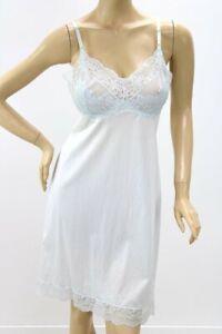 Vintage Vassarette nylon Full Dress Slip Lace Lingerie Blue sz 40 USA