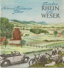 Zwischen Rhein und Weser Auto und Radwander Führer 1952 Käfer Cabriolet VW RAR
