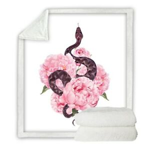 Pink Floral Snake Animal Flower Sherpa Plush Throw Blanket Fleece Bed Sofa Couch