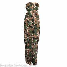Ladies Womens Camouflage Army Shirring Bandeau Maxi Dress Plus Normal Sizes 8-22 XXXL