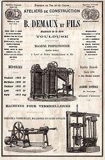 PUBLICITE DEMAUX MACHINE POUR PATES  MACARONIS VERMICELLERIE TOULOUSE  AD1882