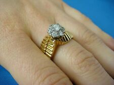 ! EXQUISITE LADIES DIAMOND VINTAGE RING WITH ATTACHED BAND. 9.2 GR, SIZE 9.5