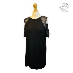 Papaya Women Size 12 Black Relaxed Cut Out Sleeve Shift Dress