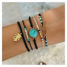 Damen Armbänder 5er Set Gold Gefädelt Schnur Armband Schmuck Perlen Türkis Blatt
