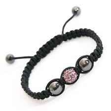 Pink Crystal Charm Bracelet with Hematite Beads Adjustable Hand Braided Bracelet