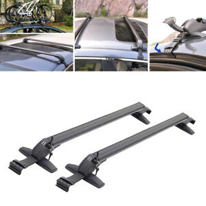 Auto Car SUV Top Roof Rail Luggage Rack Baggage Carrier Kit Cross Aluminum Black