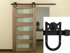 6FT Heavy Duty Sturdy Sliding Barn Door Hardware Kit Single Door Black Steel
