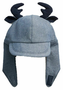 Baby Gap Blue Chambray Reindeer Deer Trapper Hat 18-24 Months $20 NWT