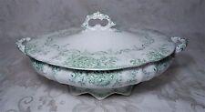 Vintage Royal Semi-Porcelain Tureen England Alfred Meakin Green Calsada Pattern