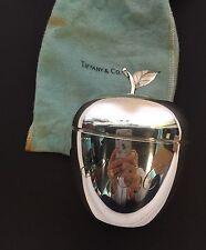 "Tiffany & Co Sterling Silver Figural Apple Trinket Box in Pouch 4.5"""