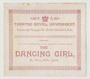 "ANTIQUE VICTORIAN THEATRE PROGRAMME ""The Dancing Girl"" Theatre Royal Haymarket"