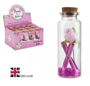 MESSAGE IN A BOTTLE Mother`s Day Gift Commitment Rose For Mum Her PM734069 UK