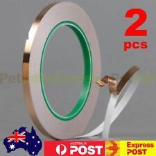 2x Conductive Copper Adhesive Foil Shielding High Heat Temperature Tape 6mm*20m