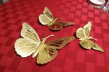 Vintage HOME INTERIORS Brass Butterflies Set of 3 Metal Wall Decorations~HOMCO