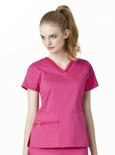 NEW WOMEN'S WONDERWINK FLEX TRIMMED NURSING UNIFORM SCRUB TOP TWO STRETCH #6102
